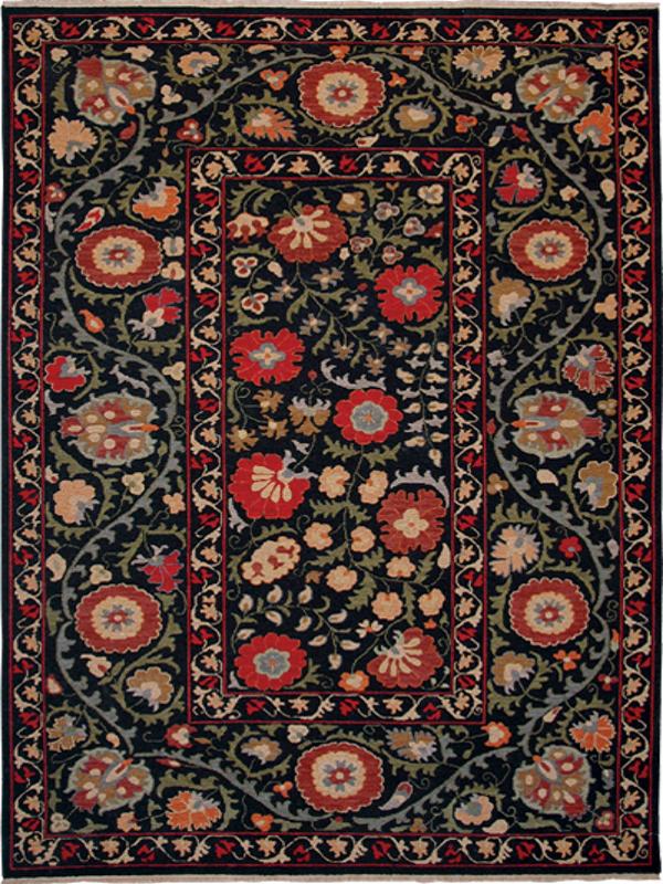 Suzani Collection Black 12 Kirishian Imported Rug Co
